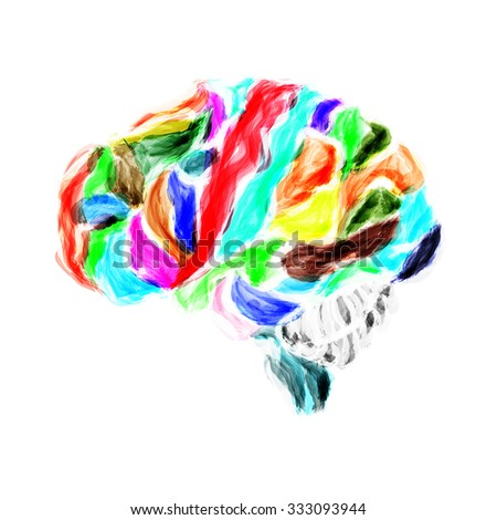 Multicolored human brain painted with watercolors