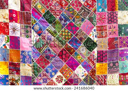 Multicolored indian cloth.