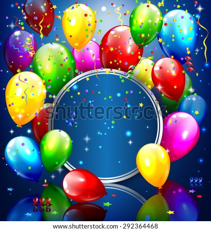Multicolored inflatable balloons with circle frame and confetti on blue background - stock photo