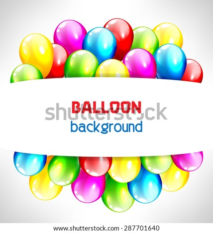 Multicolored inflatable balloons with frame on grayscale background - stock photo