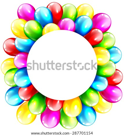Multicolored Inflatable Celebration Bright Balloons with Circle Frame Isolated on White Background - stock photo