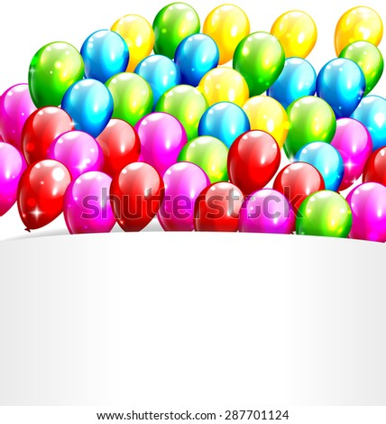 Multicolored Inflatable Celebration Bright Balloons with Frame Isolated on White Background - stock photo