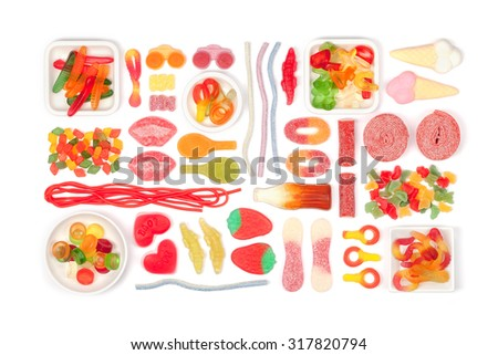 multicolored jelly candies on white background  - stock photo