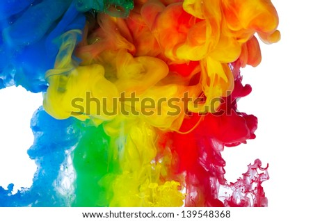 Multicolored liguid moves, fall and mixed - stock photo