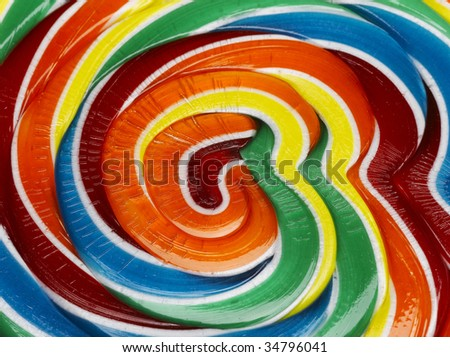 Multicolored lollipop, extreme close-up