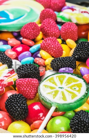 multicolored lollipops, candy and chewing gum background  - stock photo
