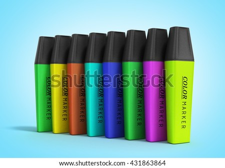 multicolored markers 3d render isolated on a gradient background