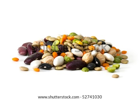 Multicolored mixed dried beans on a white background