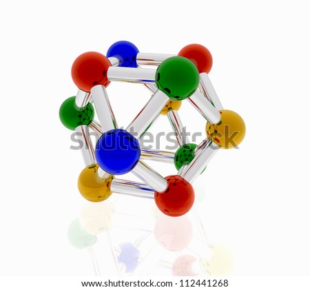 multicolored nano particle on a white background for the brochure/color molecule for creative design - stock photo