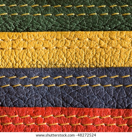 Multicolored natural leather with stitches - stock photo