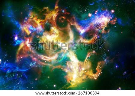 Multicolored nebula, digital drawing - stock photo