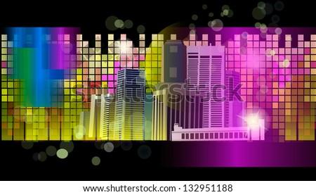 Multicolored night city. Raster - stock photo