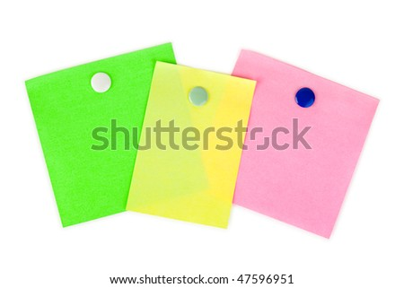 Multicolored note paper isolated on white background - stock photo