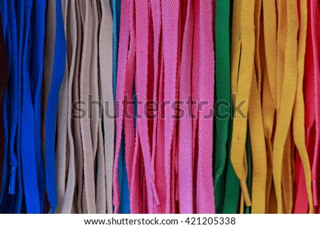 Multicolored of shoelace texture background - stock photo