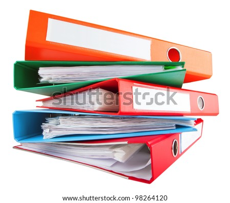 multicolored office binders - stock photo