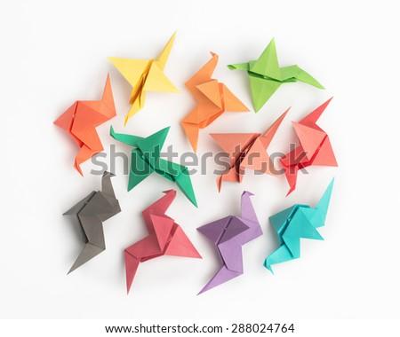 Multicolored Origami Birds - stock photo