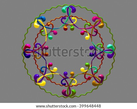 multicolored, ornamental circle frame. 3D-rendering - stock photo