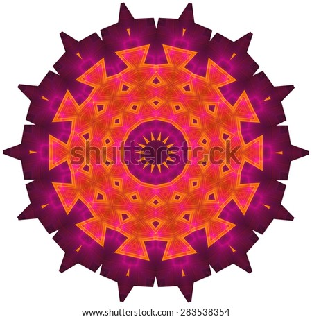 Multicolored ornamental pattern in spiked round shape. Image shows rich purple, magenta and orange colors. Image contains a lot of details even at full zoom. - stock photo