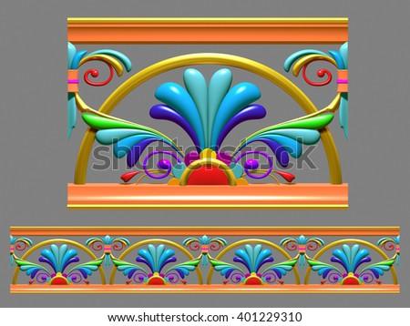"multicolored, ornamental segment, ""Sinus"", straight version for frieze, frame or border. 3d rendering - stock photo"