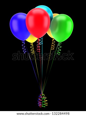multicolored party balloons with ribbons isolated on black background - stock photo