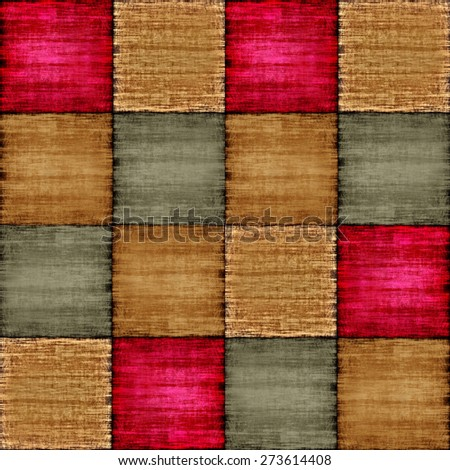 Multicolored patch texture collage in a chessboard order as abstract background.Digitally generated image. - stock photo
