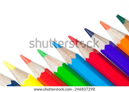 Multicolored pencils isolated on white background. - stock photo