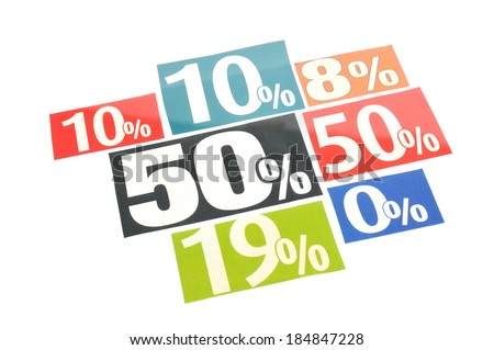 Multicolored percentage adverts on white background - stock photo