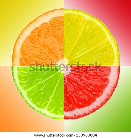 Multicolored pieces of lemon, orange, lime and grapefruit on color background - stock photo