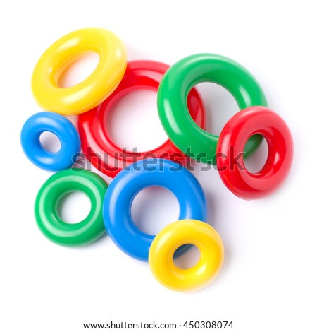 Multicolored plastic rings isolated on white background. - stock photo