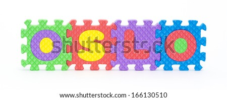 Multicolored plastic toy letters spelling the word Oslo capital of Norway isolated on a white background.  - stock photo