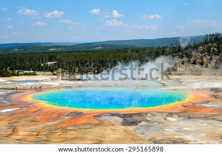 Multicolored Pool at Yellow Stone National Park - stock photo