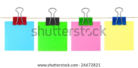 Multicolored post-it note paper isolated on white background - stock photo