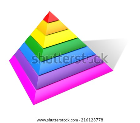 Multicolored Pyramid. 3D Rendering. Isolated on white.