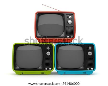 Multicolored pyramid of retro TV white background   - stock photo