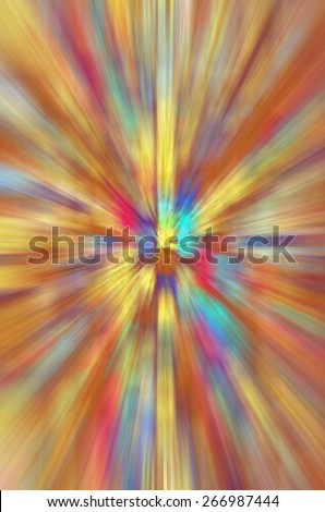 Multicolored radial blur for themes of stellar explosion, temporal distortion, or otherworldly perception - stock photo