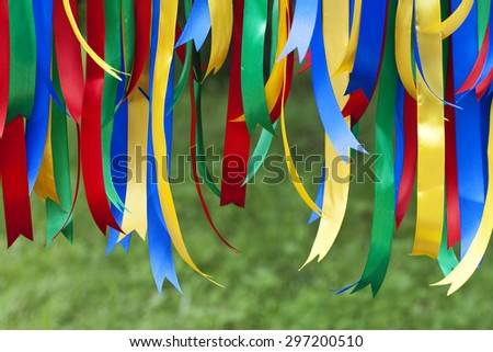 multicolored ribbons vertically blurred background - stock photo