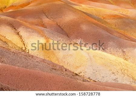Multicolored Sand Dunes close to  Chamarel village,  Mauritius - stock photo