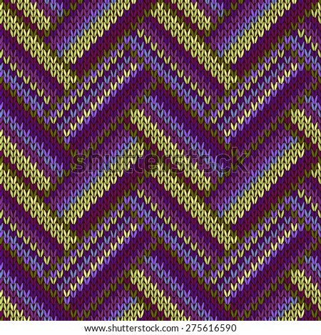 Multicolored Seamless Knitted Pattern. Green Lilac Color - stock photo
