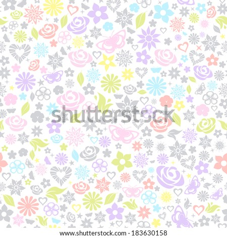 Multicolored seamless pattern of flowers, leafs, stars, butterflies and hearts. Raster version. - stock photo