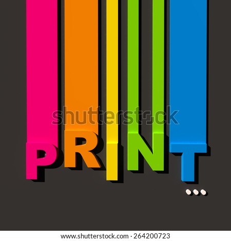 Multicolored Sign On Black Background Word Stock