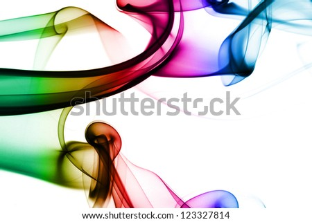 Multicolored smoke in white background - stock photo
