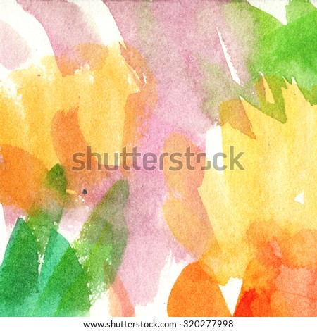 multicolored stain, green, red, orange, pink/ watercolor painting - stock photo