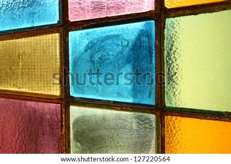 Multicolored stained-glass window - background - stock photo