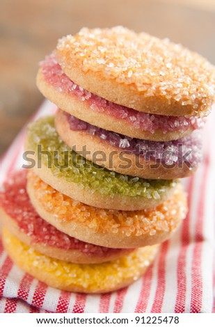 Multicolored Sugar Cookies In Red Yellow Green Orange And Purple Color