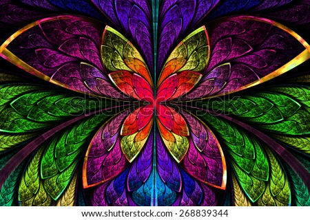 Multicolored symmetrical fractal pattern as flower or butterfly in stained-glass window style. Computer generated graphics. - stock photo