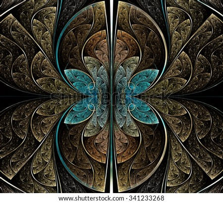Multicolored symmetrical fractal pattern as flower or butterfly in stained-glass window style. Computer generated graphics - stock photo