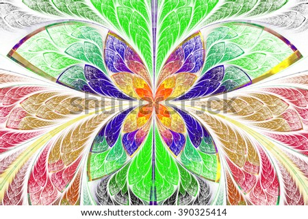 Multicolored symmetrical fractal pattern as flower or butterfly in stained-glass window style. On light. Computer generated graphics. - stock photo