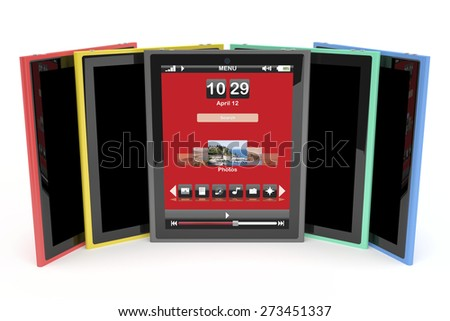 Multicolored tablet computers on white background