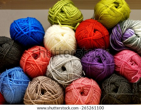 multicolored tangles of yarn and thread for knitting  - stock photo