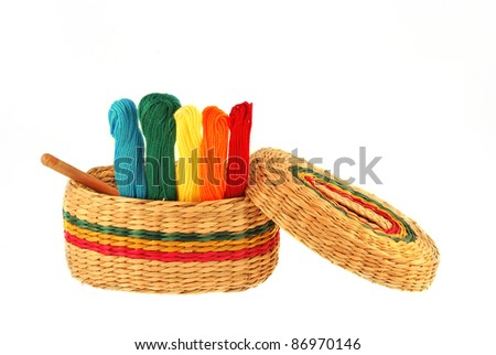 Multicolored threads for embroidery on white background
